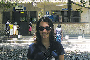 Nicole Dionne in front of a hospital in Haiti