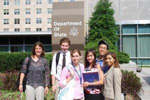 Students in front of the US Department of State