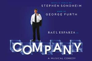 man in a suit standing on the word Company; music and lyrics by Stephen Sondheim, book by George Furth, Raul Esparza in Company, a musical comedy