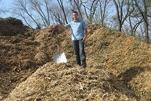 Man standing on compost
