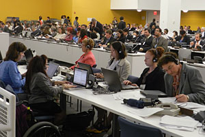 AU students Allie Cannington and Kerry Honeycutt, and AU alumni Erica Seng and Maya Aguilar, serve as official rapporteurs at the UN Convention on the Rights of Persons with Disabilities.