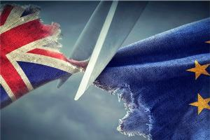 Scissors cutting UK and EU flag.