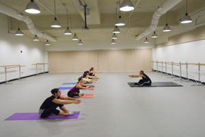 Yoga class in large open room