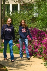 AU students and azaleas