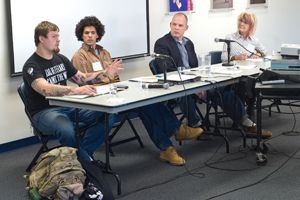 From left, Geoff Millard, Iraq Veterans Against the War; Dylan Kerrigan, AU anthropology student; Kevin Caffrey, AU professor of anthropology; and Deborah Murphy, AU anthropology student, discussed anthropologists and the military. (Photo: Jeff Watts)