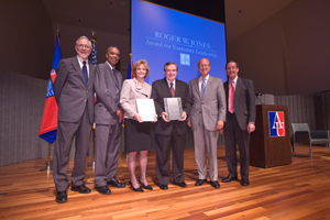 From left: SPA dean William LeoGrande; Peace Corps director Aaron Williams; Peggy Focarino; Kenneth Baker; Roger W. Jones selection committee chair David Walker; and Robert Tobias, director, Key Executive Leadership Program (Photo: Jeff Watts)