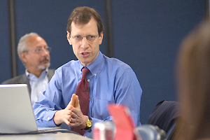 Photo: Pollster.com editor Mark Blumenthal delivered the keynote address at SOC's polling workshop on June 17.