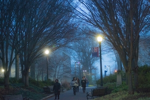 A photo of campus on a winter evening.