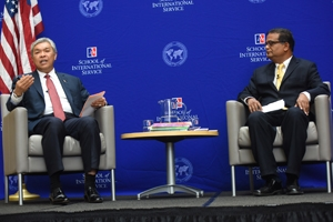 Ahmad Zahid Hamidi, Deputy Prime Minister of Malaysia (left) spoke about terrorism and trade at SIS on April 2. Professor Amitav Acharya (right) moderated the discussion.