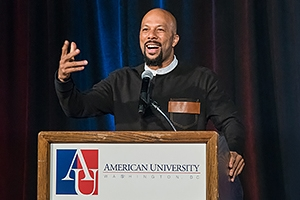 Common spoke, and even did an AU-centric freestyle, in Bender Arena. Photo: Jeffrey Watts.