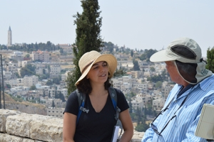 Gabriella Neusner, SIS/MA '16 with Israeli archaeologist and peace activist Avner Goren.