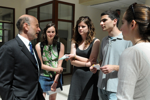 SIS dean Louis Goodman chats with students, May 5. (Photo: Bill Petros)