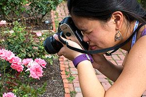 Female student capturing pink flowers on camera