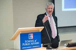 Sheldon Danziger, president of the Russell Sage Foundation, speaks at the event,