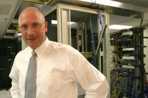 Dave Swartz, CIO, in a server room