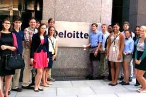Members of class of 2017 at Deloitte with alumna, Rayneisha Watson, Kogod/MBA '08, during Alumni in Action program.