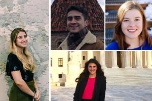 Recent SIS graduates Sophie Goguichvili, Alan de Beaufort, Alexia Gardner, and Maria Humayun.