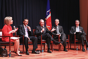 Photo: From left: Andrea Mitchell, Antonio Villaraigosa, Michael Bloomberg, Rahm Emanuel, Arne Duncan.