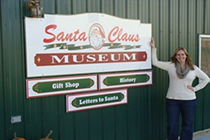 Emily Thompson at the Santa Claus Museum.