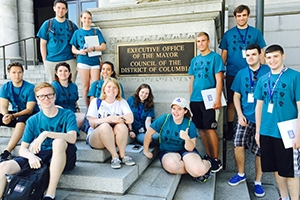 Group of students on blue t-shirts