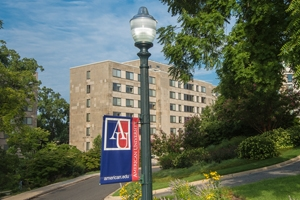 Light and pole with the AU flag, in between trees and in front of residence hall.