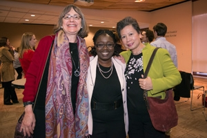 Dr. Fanta Aw (center) with colleagues at a reception held in honor of her new NAFSA post. Photo by Jeff Watts.