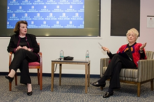 Left to right: Dianne Feinstein (D-CA), and author Ellen Malcolm