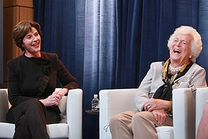 Former first ladies Laura and Barbara Bush