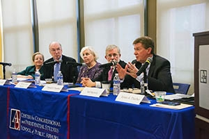 Right to left: Neil Kerwin, Daniel J. Fiorino, Martha Joynt Kumar, Howard McCurdy, and Janice Lachance