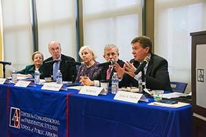 Right to left: Neil Kerwin, Daniel J. Fiorino, Martha Joynt Kumar, Howard McCurdy, and Janice Lachance