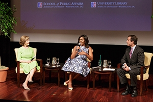 From left to right: Former First Lady Laura Bush, First Lady Michelle Obama, and ABC News Anchor Bob Woodruff