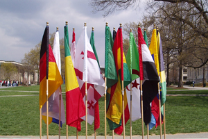 Flags from different countries displayed on the Quad.
