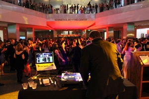 DJ Reoffender spins for students at AU's Founders Day Ball in the National Museum of American History. Photo by Patrick Bradley.