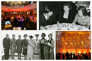 Color images from Founders Day Ball 2013; black and white image top from 1937 Founders Day banquet, on bottom from 1968 festivities. Images courtesy of University Archives.