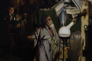"Man kneeling before a light. A man behind him is observing. The painting is Joseph Wright of Derby's ""The Alchemist Discovering Phosphorus."" From the cover of Richard Sha's book, Imagination and Science in Romanticism."