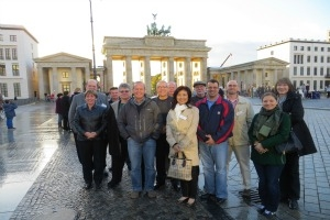 American University's Nana An with other Fulbright Education Seminar attendees at the Brandenburg Gate