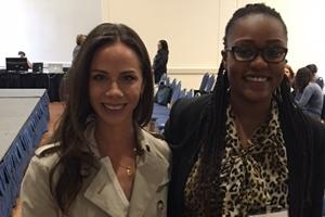 Barbara Bush with AU Public Health Scholar, Shiko Wambaa.