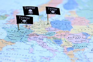 Black flags pinned into a map of terrorist attacks in Western Europe.