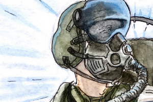 Illustration of a Marine pilot in flight.