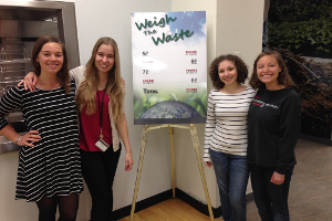 "Green Eagles help students in the Terrace Dining Room (TDR) reduce their food waste during a ""Weigh the Waste"" event."