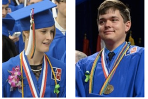 Graduates wearing green ribbons