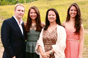 Hailey Russell (second from left), 2013 recipient of the Alumni Association Scholarship, pictured with her father, Michael Russell, Kogod/BA '86, her mother, Christine Moo-Young, Kogod/BA '87, and her sister Kiera Russell, SIS/BA '15.