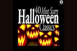 40 most scary halloween classics text on black background with glowing orange jack'o'lantern faces