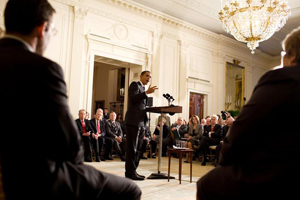 President Barack Obama addresses the Health Care Summit at the White House.