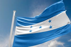 Honduran flag, blue and white stripes with blue stars.