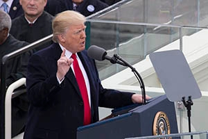 Donald Trump gives his presidential inaugural address on January 20, 2017.