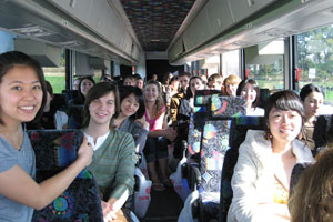 International students on a bus traveling to Pennsylvania.