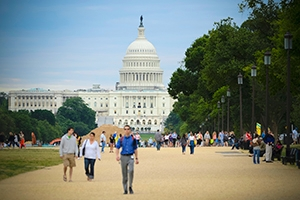 With so many internship opportunities in the D.C. area, an AU education extends beyond the classroom. Image: People walking on the National Mall. Credit: iStock.