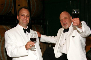 Jim Bogaty, CAS/BA '76, and his son, in the barrel room at Veramar Vineyards in Virginia.