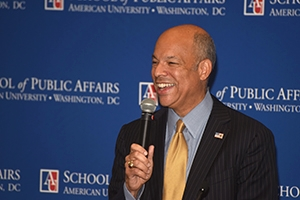 DHS Secretary Jeh Johnson speaks at the School of Public Affairs